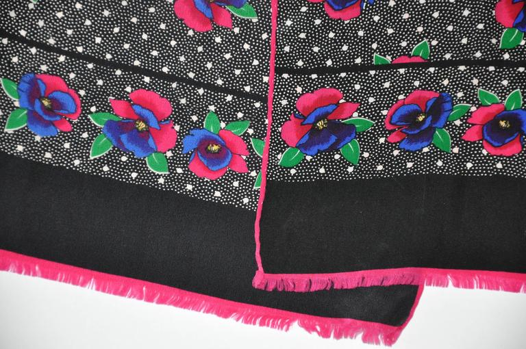 Black Bill Blass Multi-Color Rectangle Floral with Fringe Silk Scarf For Sale