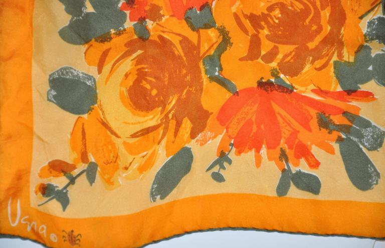 "Vera wonderful ""Burst of Tangerine & Orange Floral"" Silk scarf is finished with hand-rolled edges. This wonderful scarf filled with warm shades measures 14"" x 42"", made in Japan."