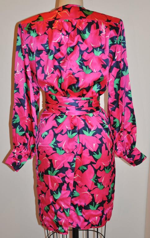 Yves Saint Laurent Bold Fuchsia, Lapis & Green Floral Wrap Dress with Tie 2