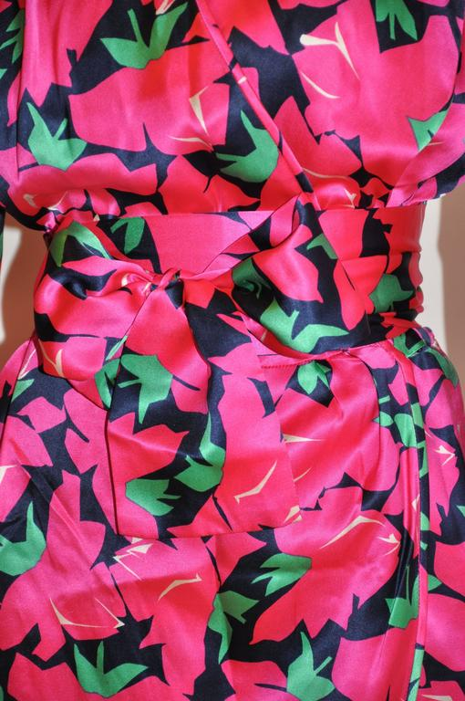 Yves Saint Laurent Bold Fuchsia, Lapis & Green Floral Wrap Dress with Tie 3