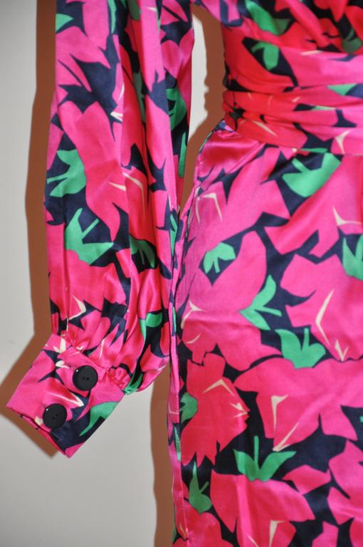 Yves Saint Laurent Bold Fuchsia, Lapis & Green Floral Wrap Dress with Tie 5