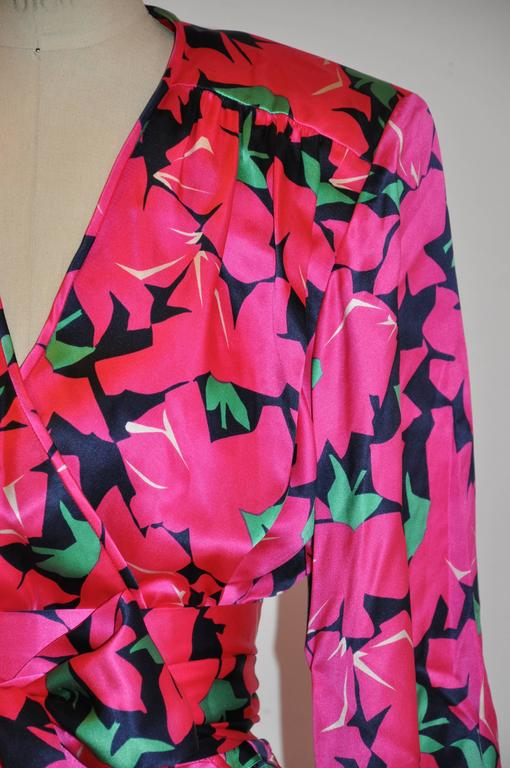 Yves Saint Laurent Bold Fuchsia, Lapis & Green Floral Wrap Dress with Tie 6