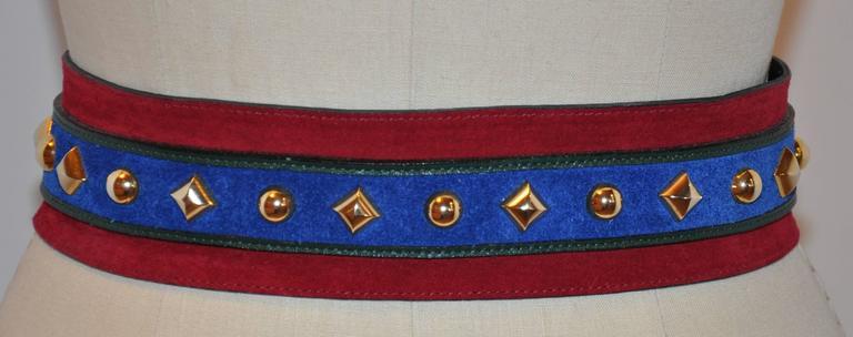 Yves Saint Laurent Lapis Blue & Red Suede Multi-Studded Buckle Belt 2