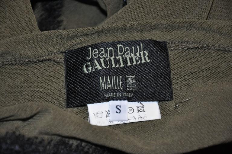 Jean Paul Gaultier Olive Netted Accented Black Embroidered Stretch Pullover In Good Condition For Sale In New York, NY