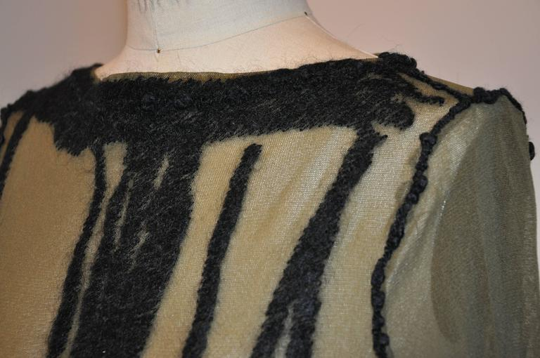 Jean Paul Gaultier Olive Netted Accented Black Embroidered Stretch Pullover For Sale 1