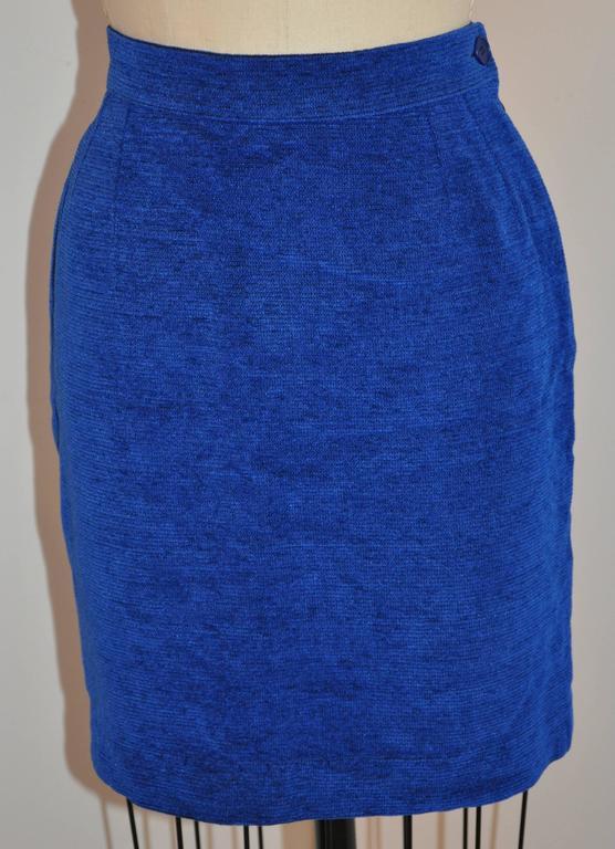 Purple Yves Saint Laurent Lapis Blue & Black Mandarin Collar Skirt & Jacket Ensemble For Sale
