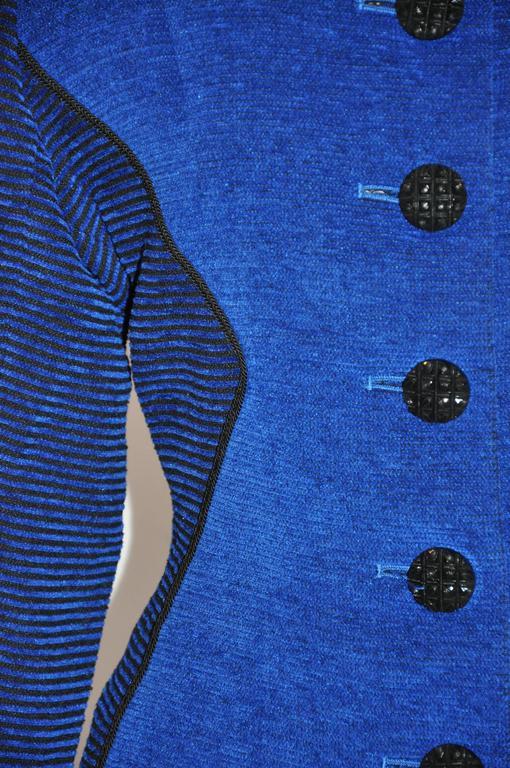 Yves Saint Laurent Lapis Blue & Black Mandarin Collar Skirt & Jacket Ensemble In Good Condition For Sale In New York, NY