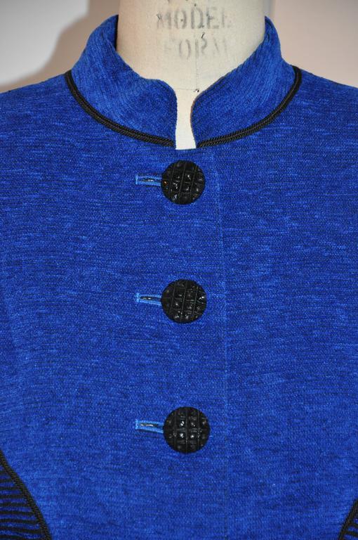 Women's or Men's Yves Saint Laurent Lapis Blue & Black Mandarin Collar Skirt & Jacket Ensemble For Sale