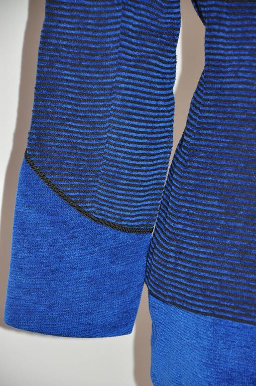 Yves Saint Laurent Lapis Blue & Black Mandarin Collar Skirt & Jacket Ensemble For Sale 1