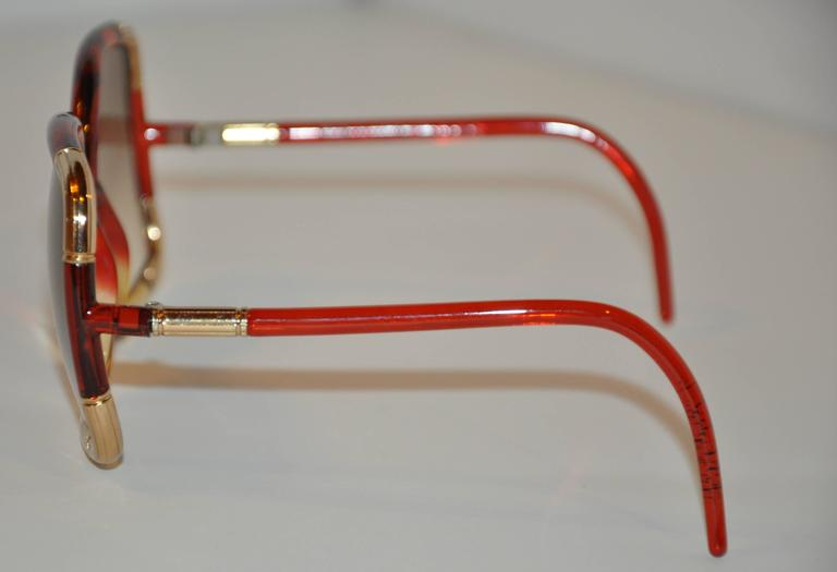 Brown Ted Lapidus Red & Gold Lucid with Engraved Gold Tone