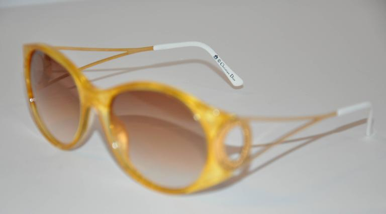 """Christian Dior """"Burst of Yellow"""" Lucite with Gilded Gold Hardware Sunglasses 2"""