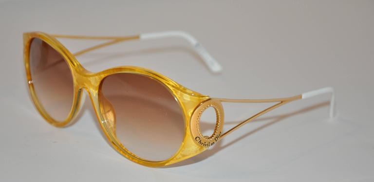 """Christian Dior """"Burst of Yellow"""" Lucite with Gilded Gold Hardware Sunglasses 3"""