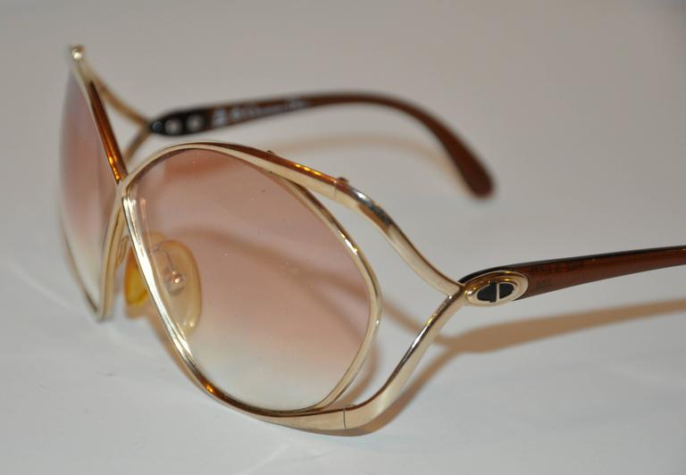 Christian Dior Huge Gilded Gold Hardware with Brown Lucite Arms Sunglasses 2