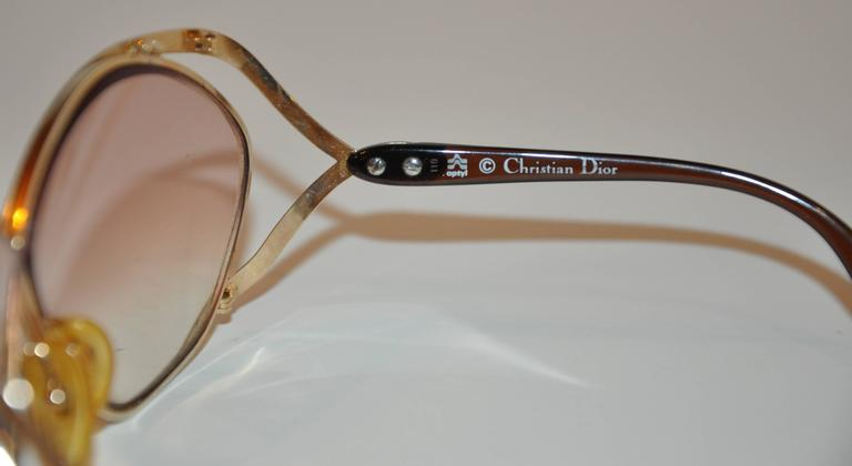 Christian Dior Huge Gilded Gold Hardware with Brown Lucite Arms Sunglasses 4