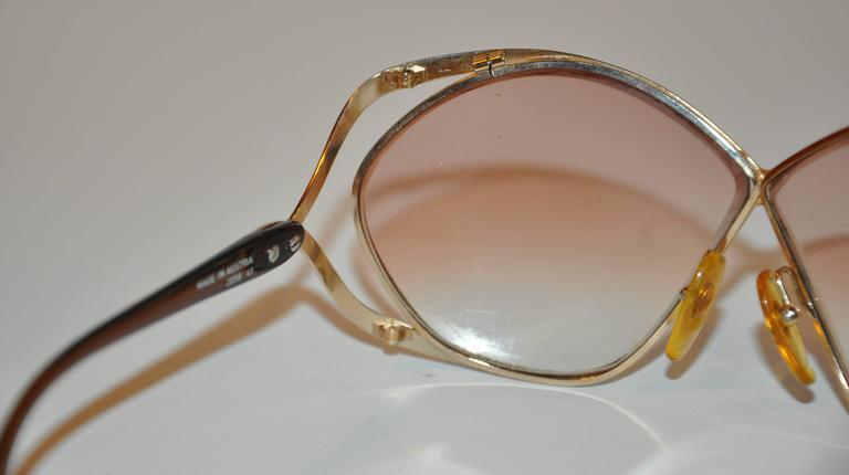Christian Dior Huge Gilded Gold Hardware with Brown Lucite Arms Sunglasses 6