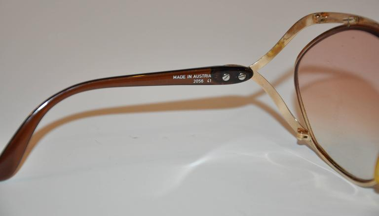Christian Dior Huge Gilded Gold Hardware with Brown Lucite Arms Sunglasses 7