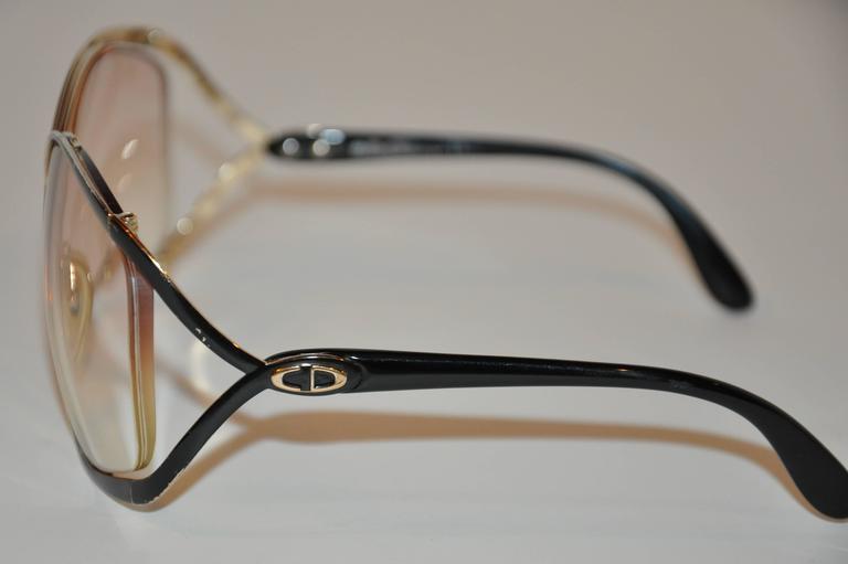 Brown Christian Dior Huge Gilded Gold Hardware, Black Lucite Overlay Glasses For Sale