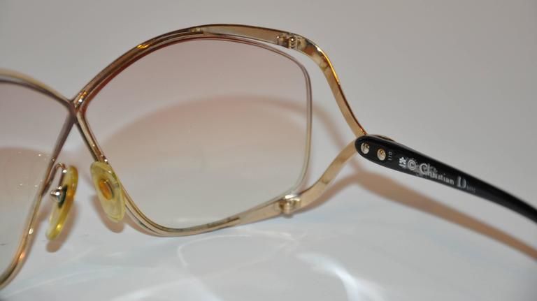 Women's or Men's Christian Dior Huge Gilded Gold Hardware, Black Lucite Overlay Glasses For Sale