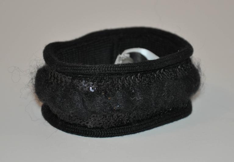 Saint Laurent Black Hand-woven & Sequins Bracelet 1IHRrLl