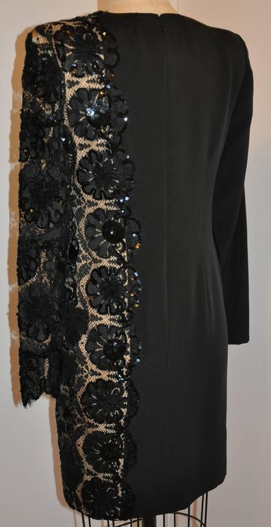 Bill Blass simply beautiful and timeless elegant black silk crepe di chine accented with detailed French lace accented with micro black sequin evening cocktail dress is fully lined with black silk as well. The center back invisible zipper