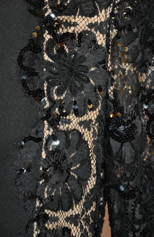 Bill Blass Black Silk Crepe di Chine & French Lace Accented Cocktail Dress For Sale 1
