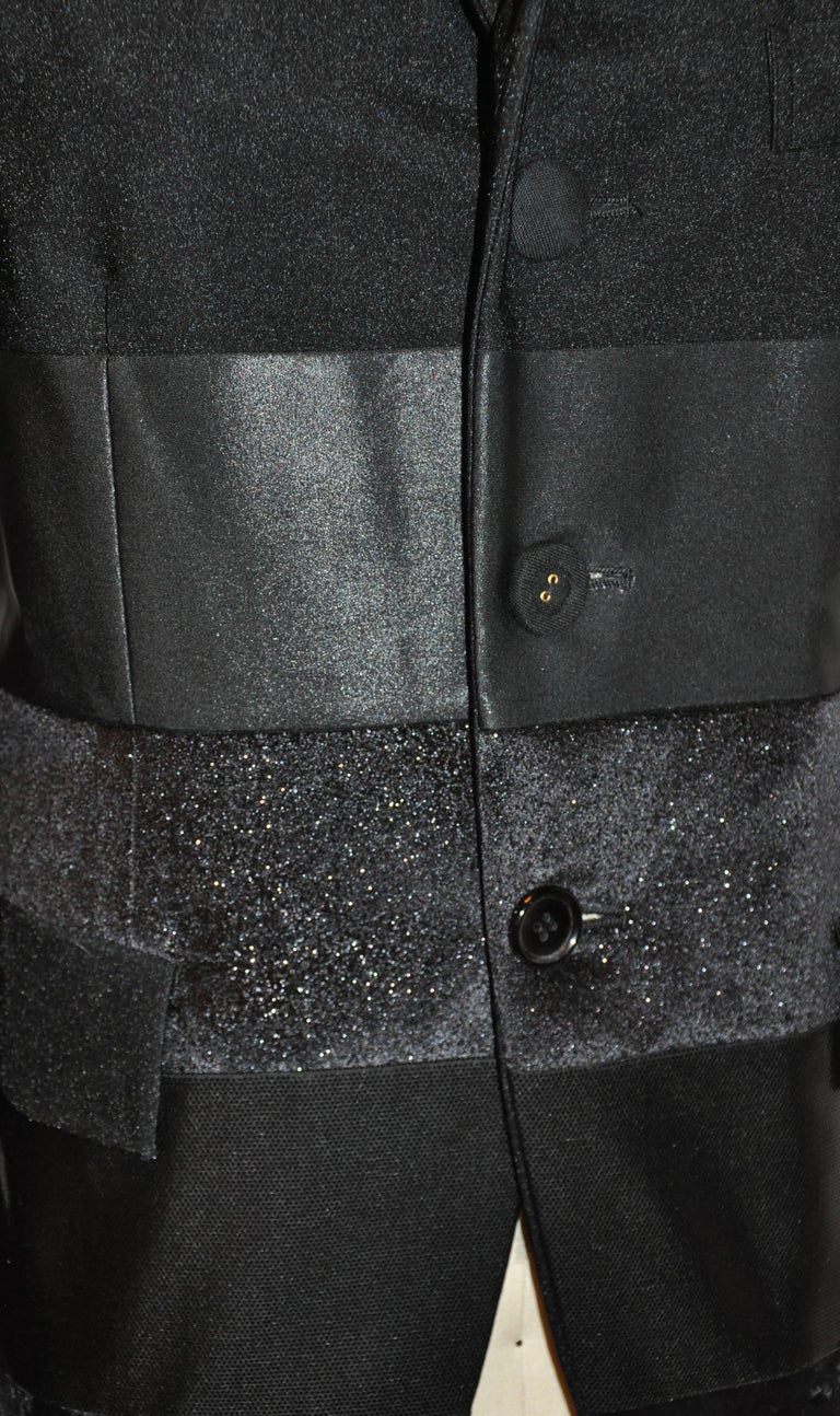 Women's or Men's Junya Watanabe 'Comme des Garcons' Black Multi-Textured Evening Jacket For Sale