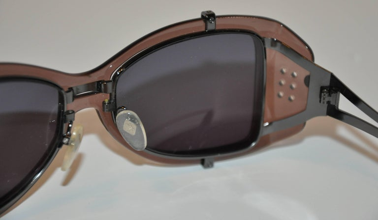 Women's or Men's Jean Paul Gaultier Smoked Hardware & Smoked Lucite Studded Sunglasses For Sale
