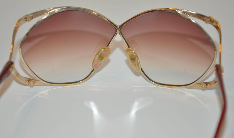 "Christian Dior Huge ""Chain-Link"" Accent Gold Hardware Frame Sunglasses 6"