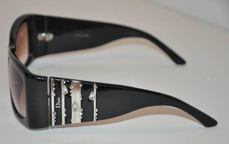 "Christian Dior ""Limited Edition"" Thick Black Lucite with Rhinestones Sunglasses 3"