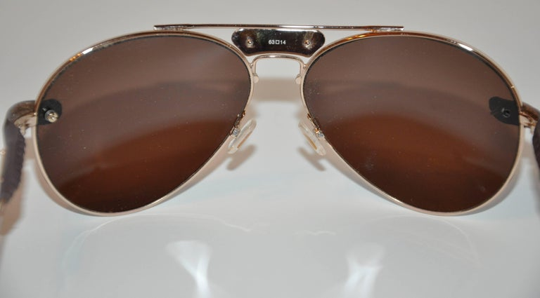 Chloe Polished Gold Hardware Frame Accented with Lambskin Sunglasses For Sale 1
