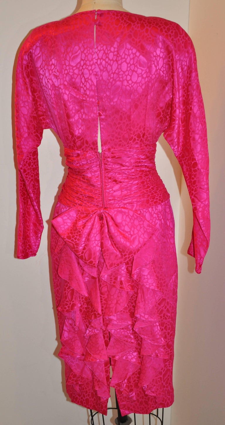 Flora Kung Fuchsia Multi-Tier Train & Bow Silk Cocktail Evening Dress In Good Condition For Sale In New York, NY