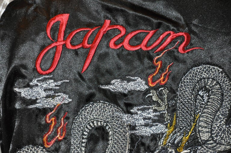 Japanese Ivory & Black Satin Fully Lined Hand-Embroidered Bomber Jacket For Sale 2