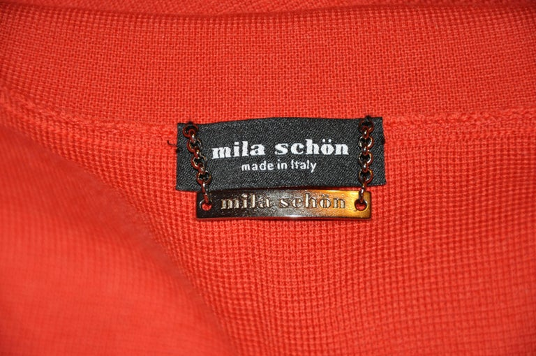"Mila Schon by Gabriella Frattini wonderful rich Italian-Red Merino ultra-fine wool snap front knit jacket measures 28"" in total length. The large black button is just for appearance covering the two large snap button underneath. There"