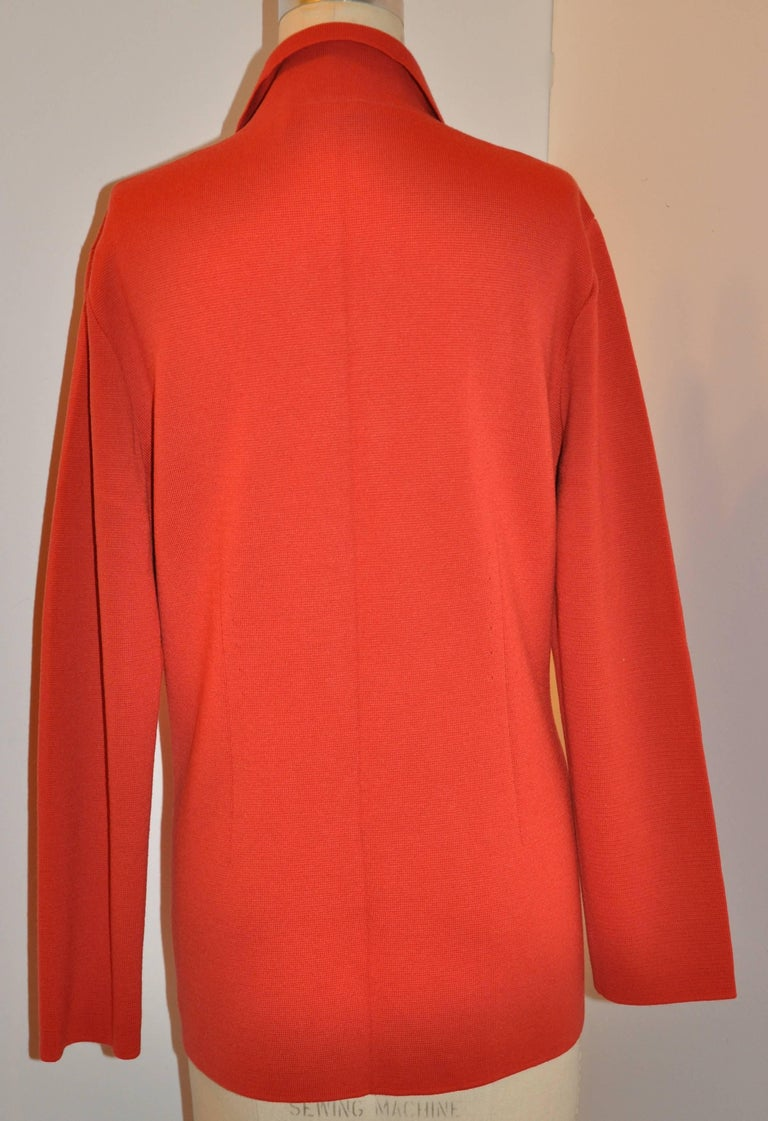 Mila Schon by Gabriella Frattini Italian Red Wool Snap Front Knit Jacket In Good Condition For Sale In New York, NY