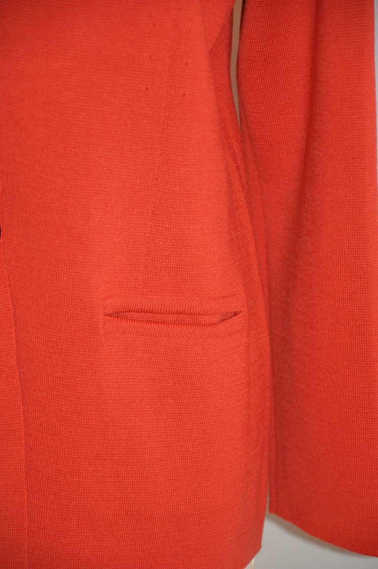 Women's or Men's Mila Schon by Gabriella Frattini Italian Red Wool Snap Front Knit Jacket For Sale