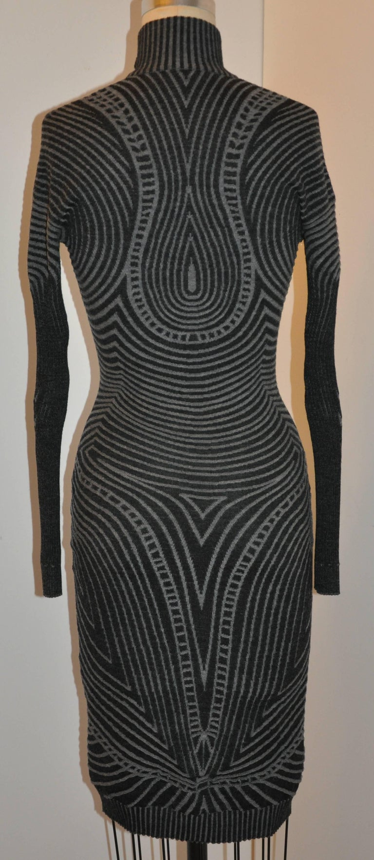 Alexander McQueen's wonderful elegant yet sexy charcoal and gray body-hugging bold abstract high-neck deep zipper front can be worn from day into the evening hours. During the day, wear this merino-wool dress zippered, and as the evening comes