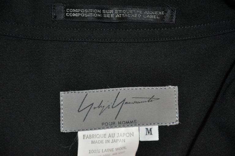 Yohji Yamamoto Homme Black Wool Jersey Panel & Cotton Button Jacket In Good Condition For Sale In New York, NY