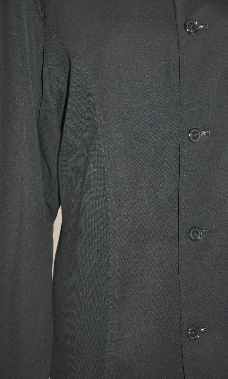 Men's Yohji Yamamoto Homme Black Wool Jersey Panel & Cotton Button Jacket For Sale