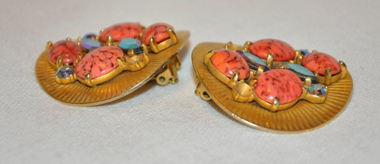 Schiaparelli Large Multi-Color Gilded Gold Clip-On Earrings In Fair Condition For Sale In New York, NY