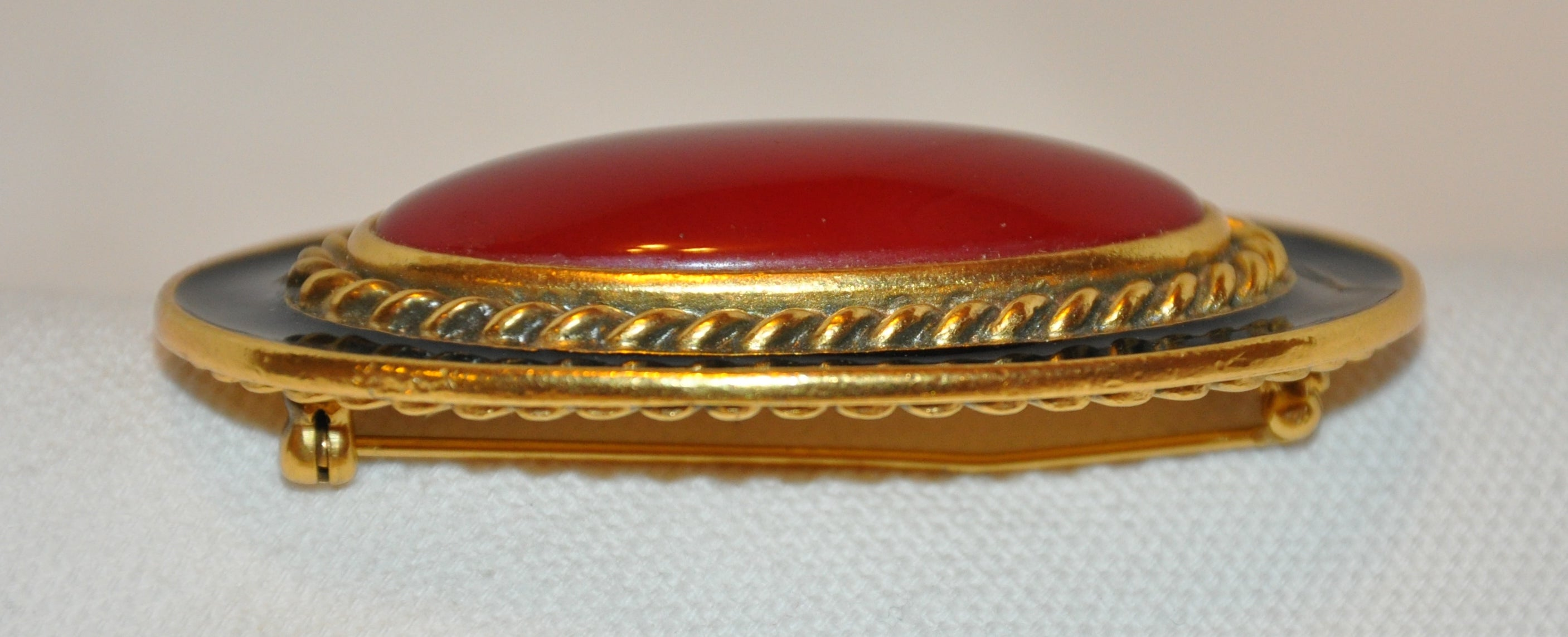 513086908ac Yves Saint Laurent Large Deep Amber Hue pour glass and Black Enamel Brooch  For Sale at 1stdibs