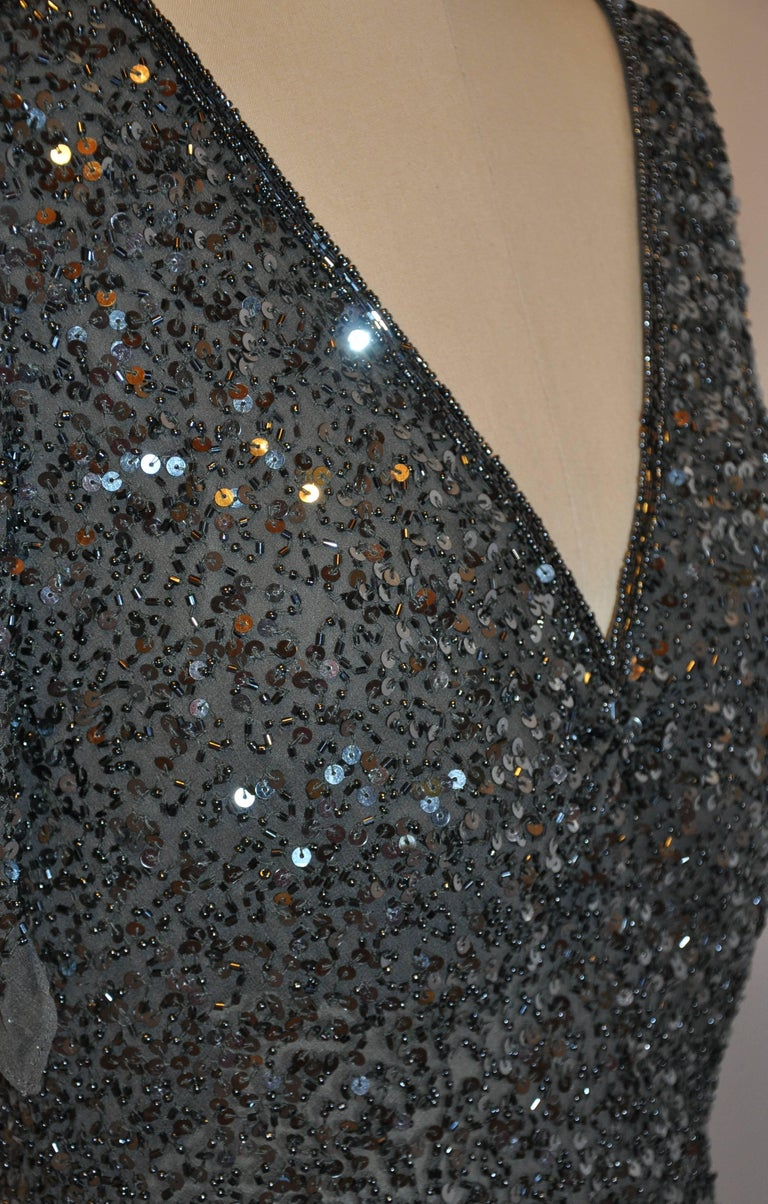 Women's or Men's Adrianna Papell Charcoal Gray Silk Chiffon Micro Beaded Deep V-Neck Top For Sale