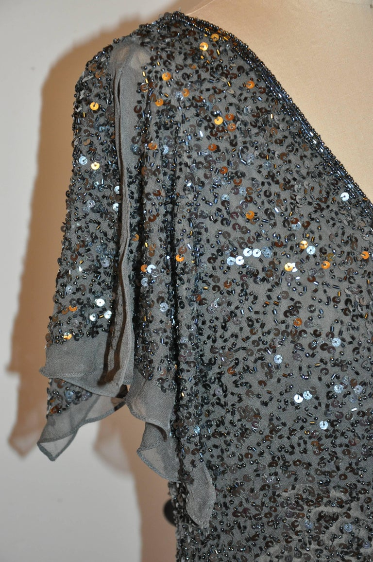 Adrianna Papell Charcoal Gray Silk Chiffon Micro Beaded Deep V-Neck Top For Sale 1