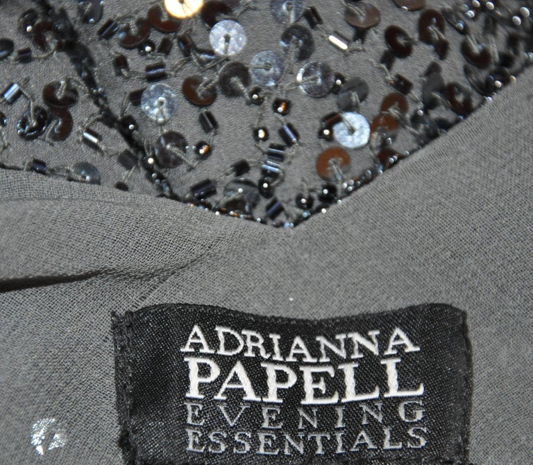 Adrianna Papell Charcoal Gray Silk Chiffon Micro Beaded Deep V-Neck Top For Sale 2