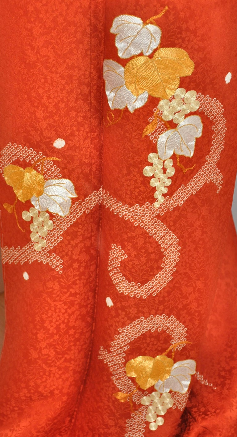 Japanese Burnt Orange Floral Silk Quot Grape Leaves And Grapes
