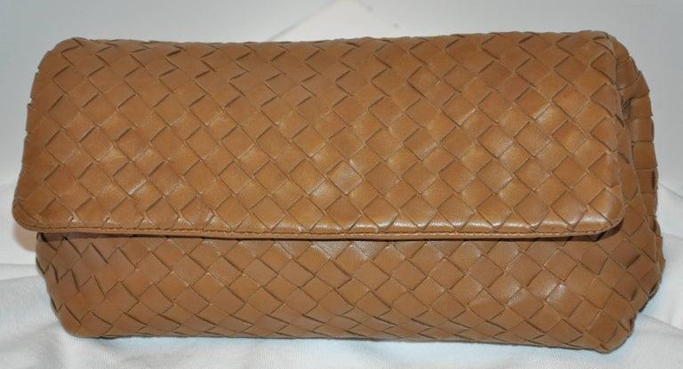 Bottega Veneta Beige Lambskin Sectional Woven Clutch For Sale 4
