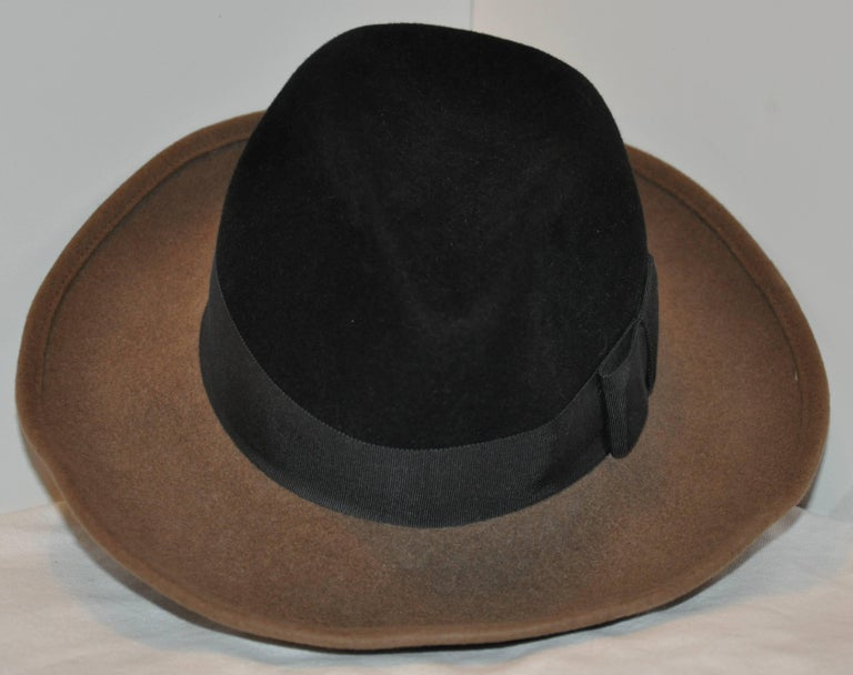 Adolfo Warm Brown and Black Wool Felt with Black Band Wide Brim Hat In Good Condition For Sale In New York, NY
