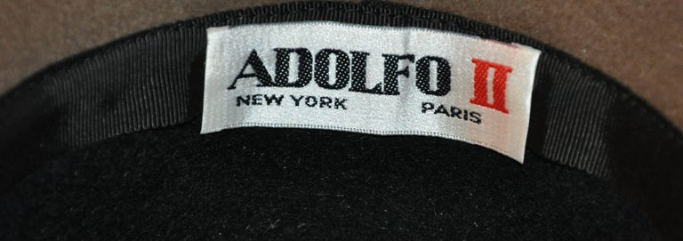 Women's or Men's Adolfo Warm Brown and Black Wool Felt with Black Band Wide Brim Hat For Sale