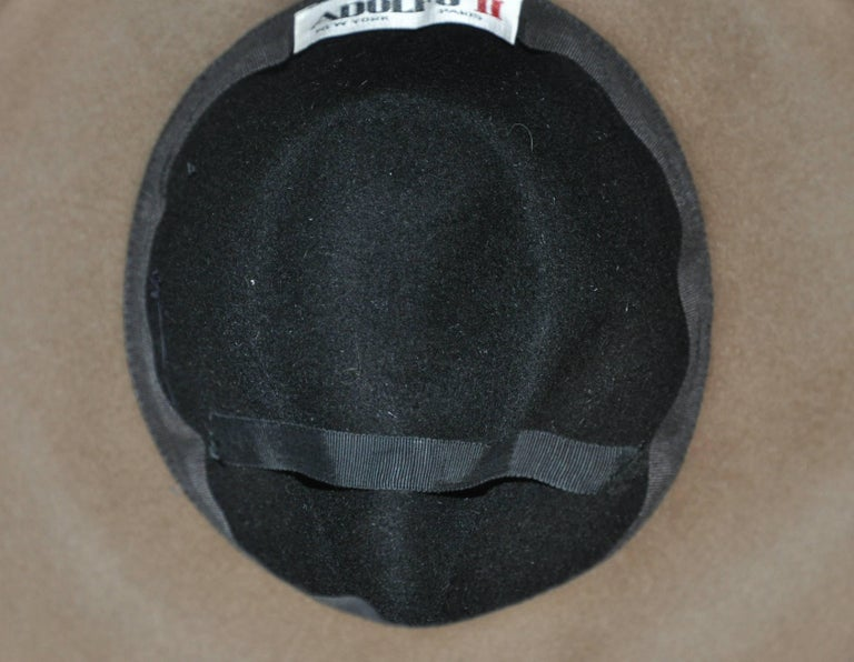 Adolfo Warm Brown and Black Wool Felt with Black Band Wide Brim Hat For Sale 1