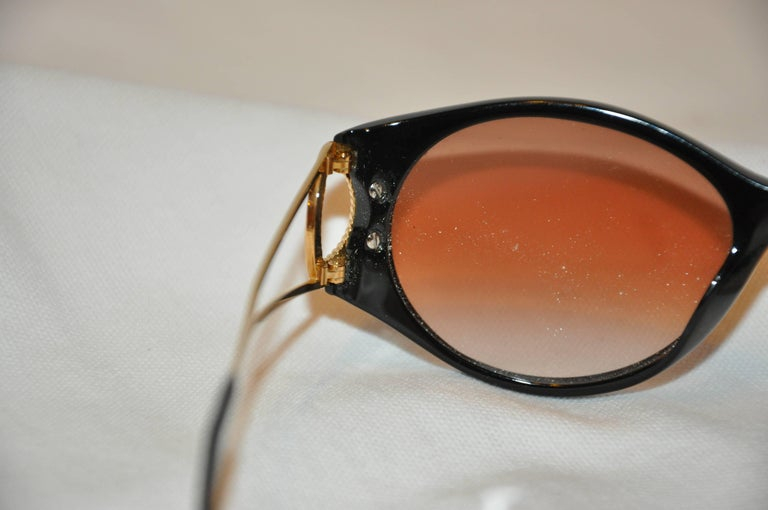"Christian Dior Black Lucite Glasses Accented with Etched Gilded Gold ""O"" Arms  6"
