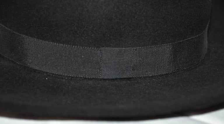 Yves Saint Laurent Black Wool Felt Wide Brim Hat In Good Condition For Sale In New York, NY